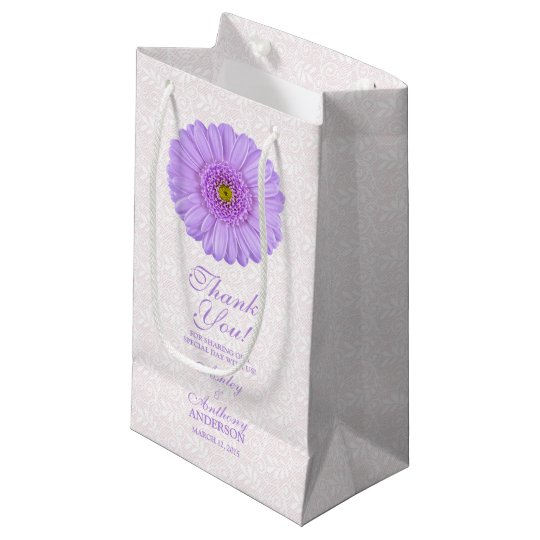 Wedding Gift Bag Purple Gerber Daisy Lace