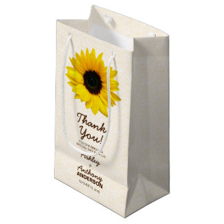 Wedding Gift Bag Sunflower Yellow Brown Lace