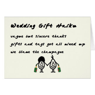 Wedding Gift Haiku - a funny thank you poem Card