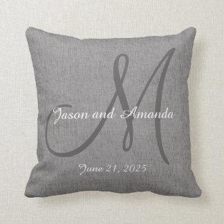 Wedding Gift Monogram Custom Faux Grey Linen Throw Pillow