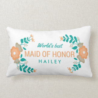 "Wedding Gift ""World's Best Maid of Honor"" Floral Lumbar Pillow"
