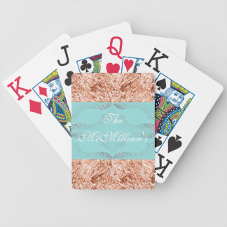 Wedding-Gift's_Aqua_Bronze Glitter-_Template*_Name Poker Deck