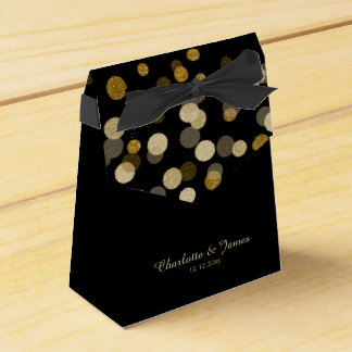 Wedding Gold Faux Glitter Dots Favor Box