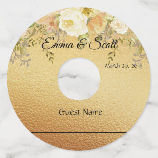 Wedding Gold Floral Marker Wine Glass Tags