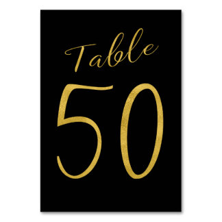 Wedding gold glitter black elegant table number