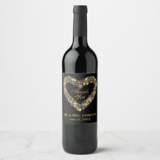 Wedding Gold Heart Wine & Champagne Bottle Labels