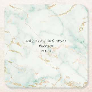 Wedding Gold Marble Mint Green Coasters