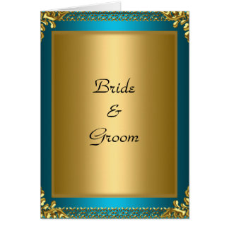 Wedding  Gold Teal Bride and Groom Card