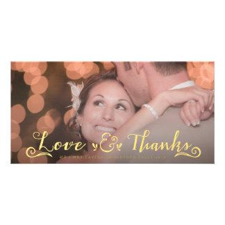 Wedding Gold Thank You Overlay Photo Cards