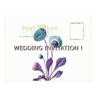 WEDDING-Gold-VINTAGE-BLUE-FLORAL-TEMPLATE Postcard