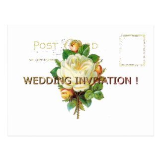 WEDDING-Gold-VINTAGE-WHITE-TEMPLATE Postcard