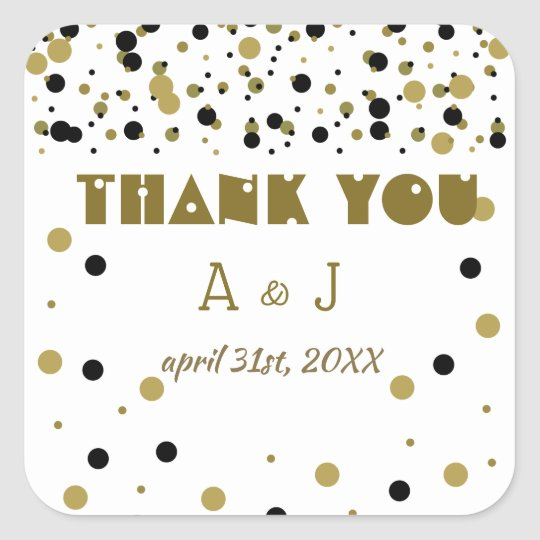 Wedding Golden Black Dots Modern Stylish Thank You Square Sticker
