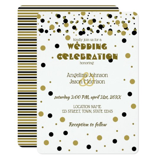 Wedding Golden Black Dots Stripes Modern Stylish Card