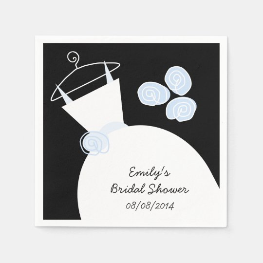 Wedding Gown Blue bridal shower 'Text' black Paper Napkins