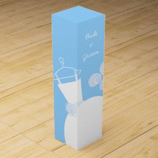 Wedding Gown Blue Bride Groom  wine box