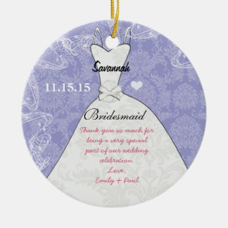 Wedding Gown Bridesmaid Butterfly Choose Color Round Ceramic Ornament