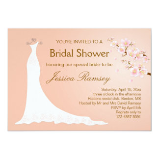 Wedding gown, cherry blossom Bridal Shower Card