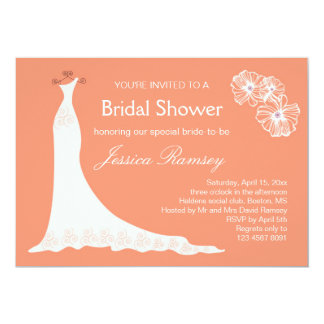 Wedding gown on coral color Bridal Shower Card
