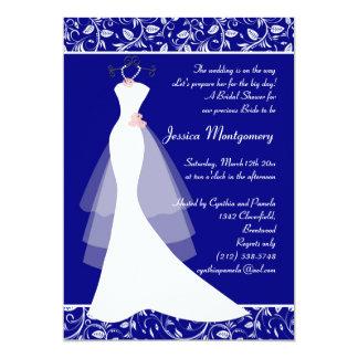 Wedding gown on royal blue Bridal Shower Invite