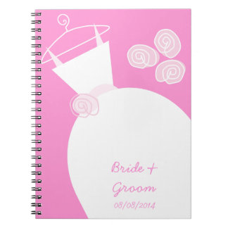 Wedding Gown Pink 'Bridal and Groom' Notebook