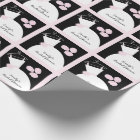 Wedding Gown Pink 'Bridal Shower' black pastel Wrapping Paper