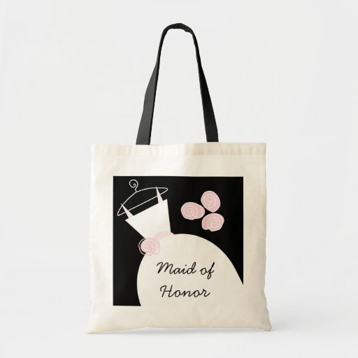 Wedding Gown Pink 'Maid of Honor' black Canvas Bag