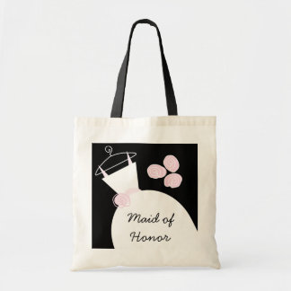 Wedding Gown Pink 'Maid of Honor' black Budget Tote Bag