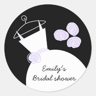 Wedding Gown Purple 'Bridal Shower' round black Round Sticker