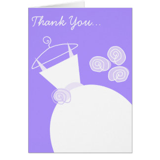 Wedding Gown Purple 'Thank You Bridesmaid' Card