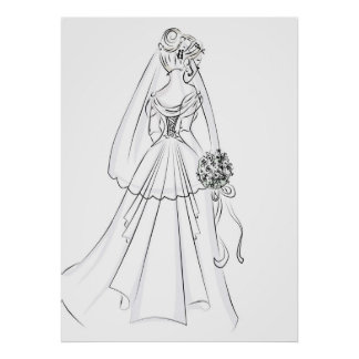 Wedding Gown-simple' pen and ink 'look Poster