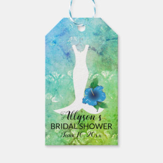 Wedding Gown Tropical Themed Bridal Shower Gift Tags