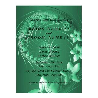 "Wedding - Green Abstract Flowers 6.5"" X 8.75"" Invitation Card"