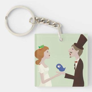 Wedding green porte-clé carré en acrylique une face