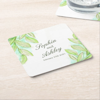 Wedding green watercolor leaves custom coasters