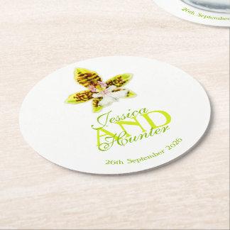 Wedding green watercolor orchid custom coasters