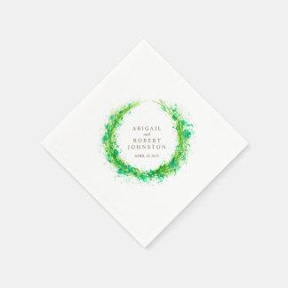 Wedding greenery wreath watercolor art napkins disposable napkin