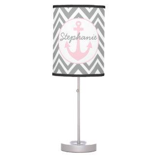 Wedding Grey, White, Pastel Pink Chevron Nautical Table Lamp