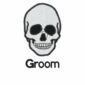 Wedding groom skull embroidered men s t-shirt