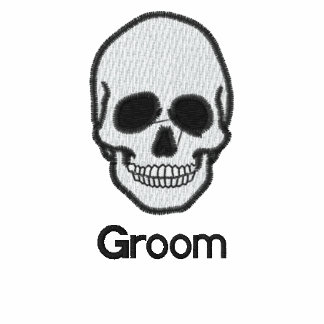 Wedding groom skull embroidered men's t-shirt