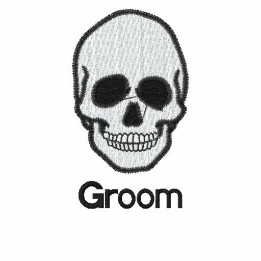 Wedding groom skull embroidered men's t-shirt