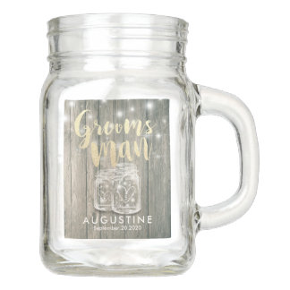 Wedding Groomsman Wood Chic Mason Jar String Light