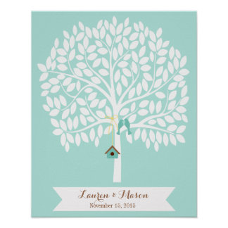 Wedding Guest Book Alternative Tree, blue leaves Poster