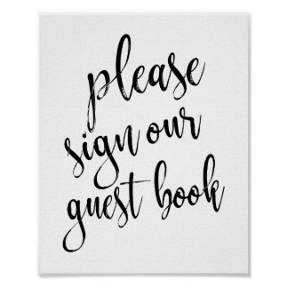 Wedding Guest Book Black and White 8x10 Sign