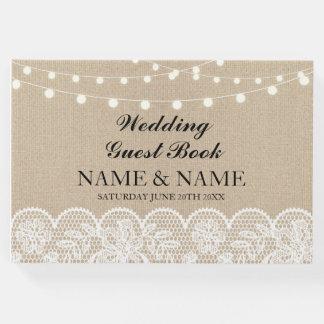 Wedding Guest Book Burlap Lace Rustic Lights