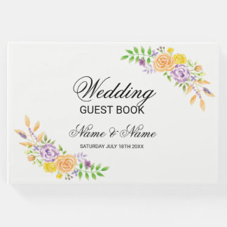 Wedding Guest Book Floral Flowers Purple Coral