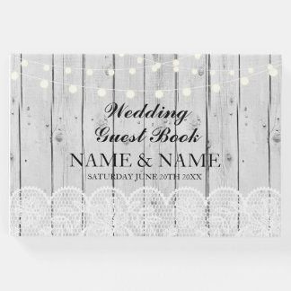 Wedding Guest Book Grey Wood Lace Rustic Lights