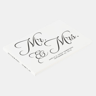 Wedding Guest Book, Mr. & Mrs, black and white Guest Book