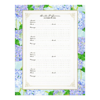 Wedding Guest Book Page Blue Hydrangea Lace Floral Custom Flyer