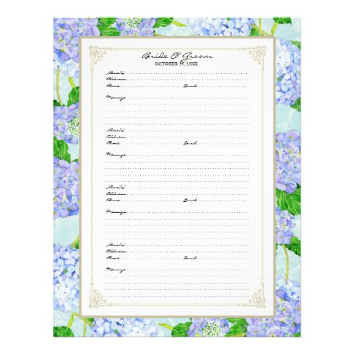Wedding Guest Book Page Blue Hydrangea Lace Floral Full Color Flyer