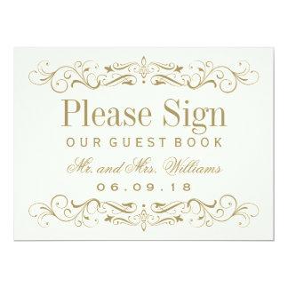 "Wedding Guest Book Sign | Antique Gold Flourish 6.5"" X 8.75"" Invitation Card"